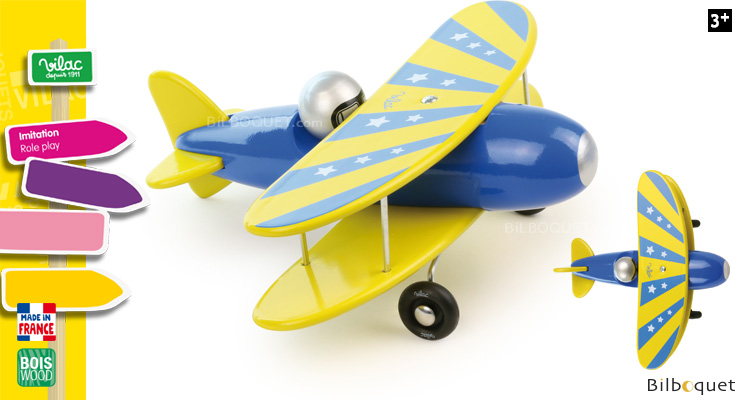 Blue biplane - Wooden Toy Vilac