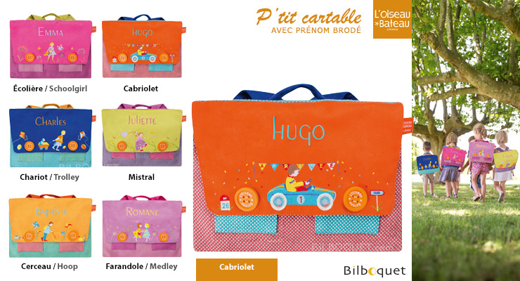 Schoolbag with embroidered name - Cabriolet L'Oiseau Bateau