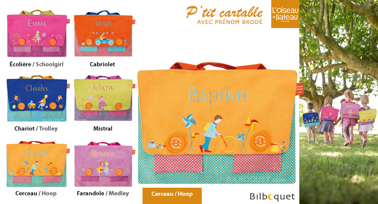 Schoolbag with embroidered name - Hoop L'Oiseau Bateau