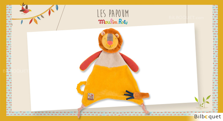 Comforter & pacifier holder Lion Les Papoum - Moulin Roty Moulin Roty