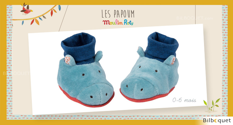 Baby Slippers Hippo Les Papoum - Moulin Roty Moulin Roty