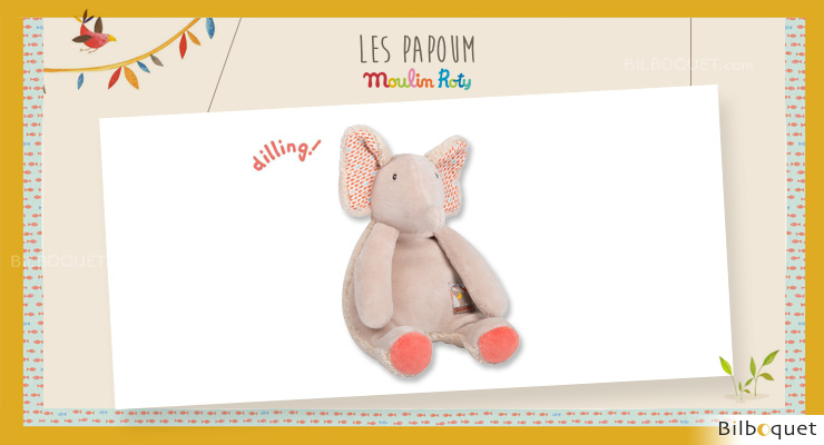 Comforter & Rattle Toy Elephant Les Papoum - Moulin Roty Moulin Roty