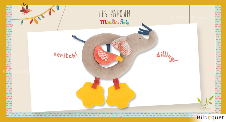 Ring Rattle Toy Elephant Les Papoum - Moulin Roty Moulin Roty