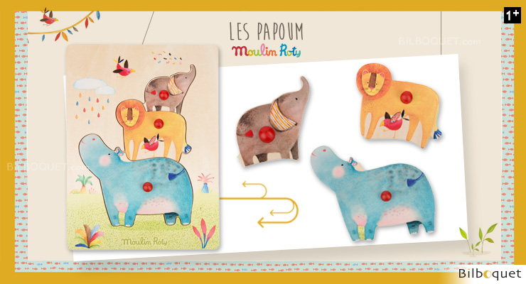 Puzzle encastrable animaux Les Papoum - Moulin Roty Moulin Roty
