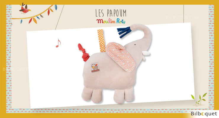 Musical Doll Comforter Elephant Les Papoum - Moulin Roty Moulin Roty