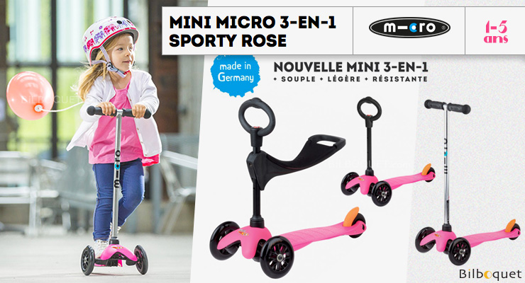 Mini Micro Scooter 3-in-1 - Scooter & Ride-on - Sporty Pink Micro Mobility Scooters & Kickboards
