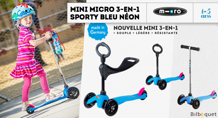 Mini Micro Scooter 3-in-1 - Scooter & Ride-on - Sporty Neon Blue Micro Mobility Scooters & Kickboards