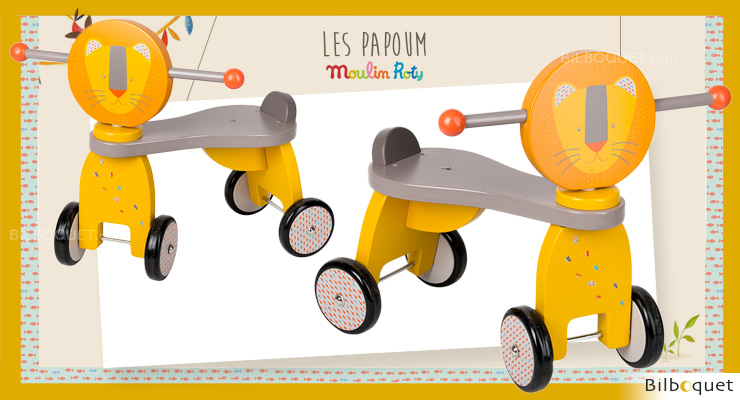Lion Push Along Stroller - Wooden Toy - Les Papoum Moulin Roty