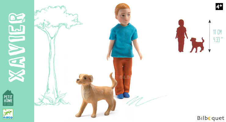 Xavier and his dog Articulated Doll - Petit Home by Djeco Djeco