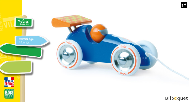 Blue and orange Pull-along racing car - Wooden Toy Vilac