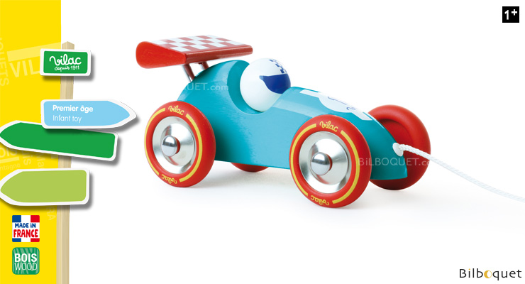 Turquoise and red Pull-along racing car - Wooden Toy Vilac