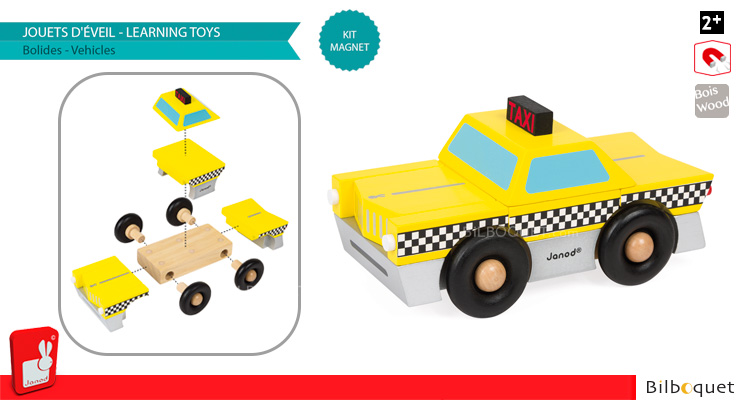 Taxi Magnet Kit - Magnetic Wooden Car Janod