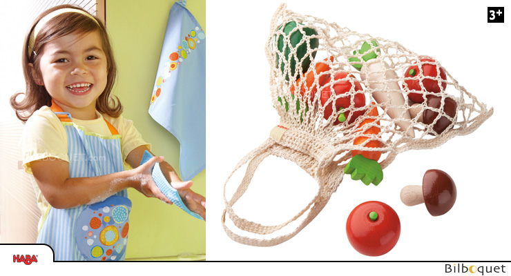 Shopping net with 9 wooden vegetables Haba