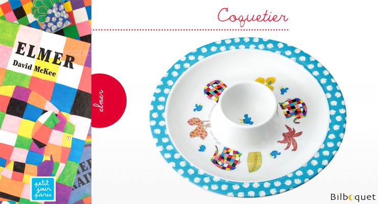 Egg-cup Elmer Elephant - Tableware for kids Petit Jour