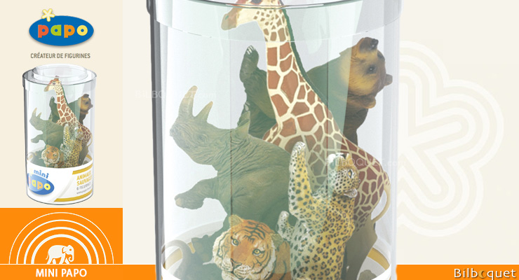 Mini Tub's Wild Animals n°2 - 12 mini figurines Papo