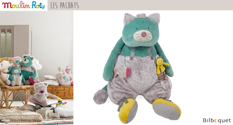 Large Blue Activity Cat 63cm - Les Pachats Moulin Roty