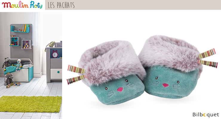 Baby Slippers Blue Cat - Les Pachats Moulin Roty