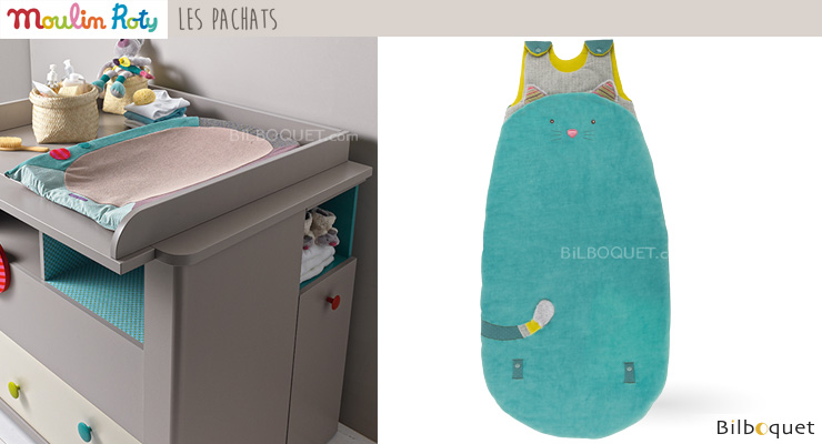 Adjustable Baby Sleeping Bag 90/110cm Blue Cat - Les Pachats Moulin Roty