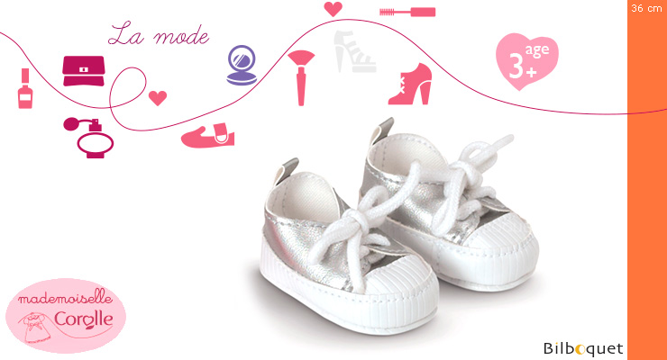 Silver Tennis shoes for 36cm doll - Mademoiselle Corolle Corolle