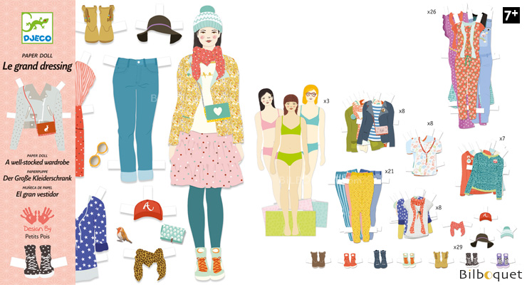 A well-stocked Wardrobe - Paper Dolls - 3 characters and 110 i Djeco