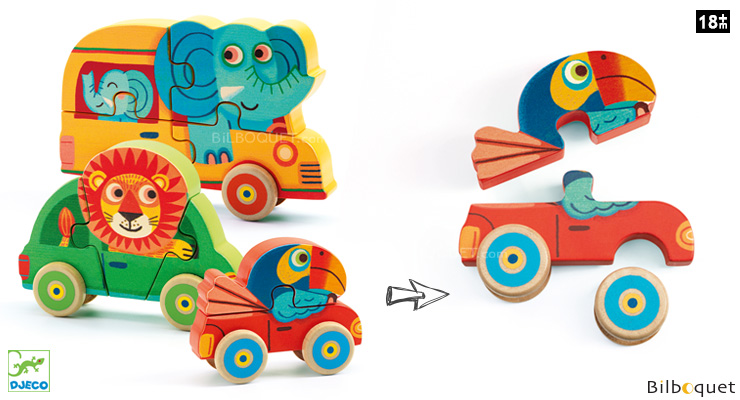 Pachy & Co Wooden Puzzles 4, 5 and 6 pieces Djeco
