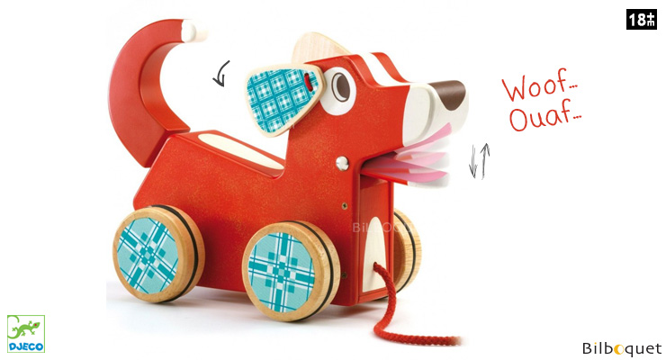 WoofyDog Pull-along Dog - Wooden Toy Djeco