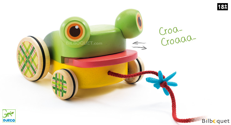 CroaFroggy Pull-along Frog - Wooden Toy Djeco