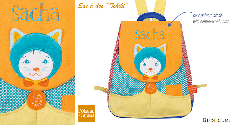Back bag with embroidered first name - Malo Cat L'Oiseau Bateau