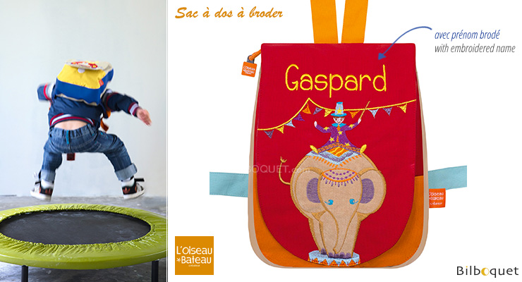 Back bag with embroidered first name - Circus Elephant L'Oiseau Bateau