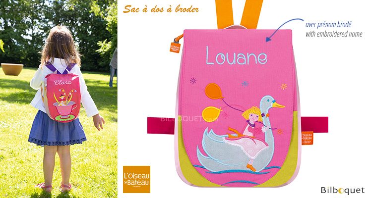 Back bag with embroidered first name - Swan Girl L'Oiseau Bateau