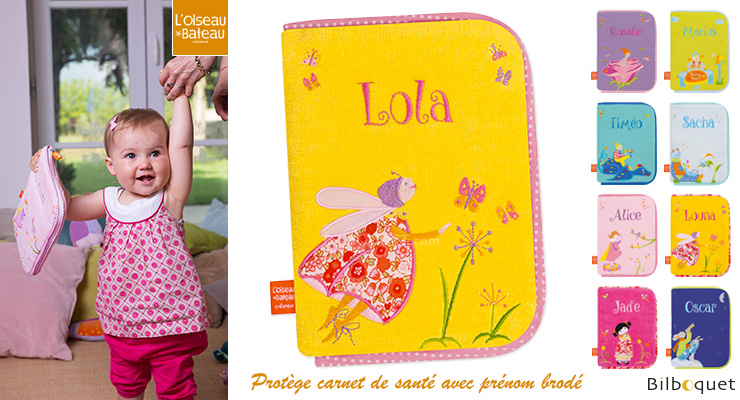Health book cover with embroidered first name - Firefly with L'Oiseau Bateau