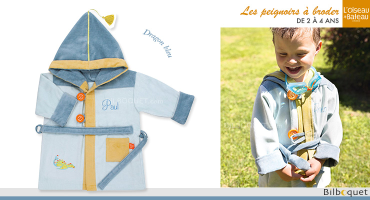 Personalized Bathrobe Ages 2/4 - Blue Dragon L'Oiseau Bateau