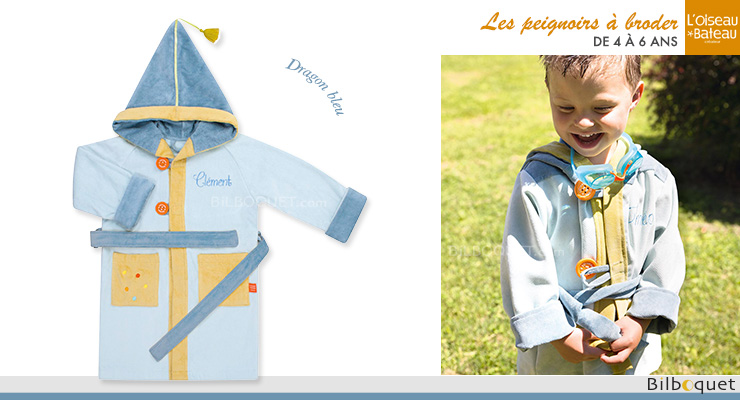 Personalized Bathrobe Ages 4/6 - Blue Dragon L'Oiseau Bateau