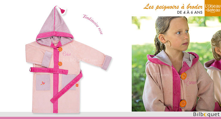 Personalized Bathrobe Ages 4/6 - Pink Tonkinese L'Oiseau Bateau