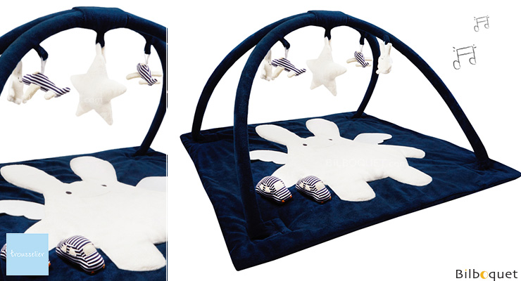 Square Playmat with Music Angel Bunny Navy 90cm Trousselier