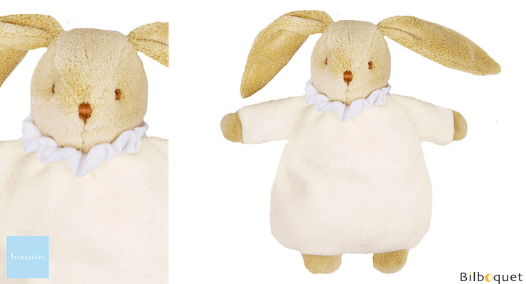 Soft Bunny Fluffy with Rattle Ivory 20cm Trousselier