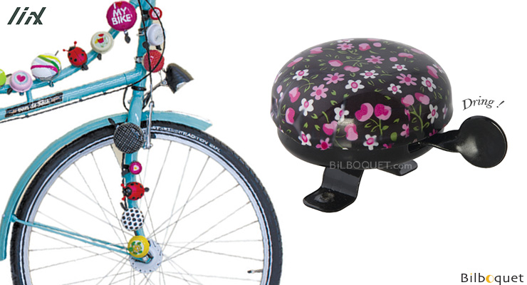 Bike Bell Pink Blossoms Black - Liix Funny Bell Liix