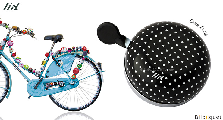 Bike Bell Polka Big Dots Black - Liix Mini Ding Dong Bell Liix