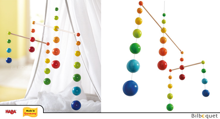 Wooden Mobile - Rainbow Balls Haba