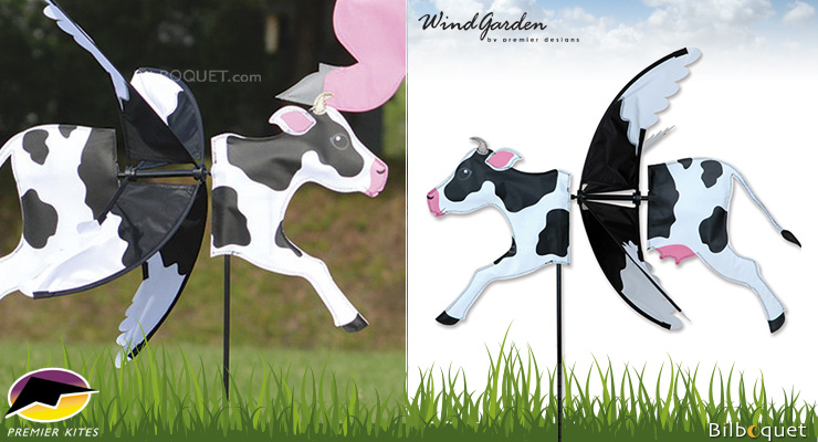 Éolienne de jardin Vache 81cm - Flying Animal Spinner Premier Kites & Designs