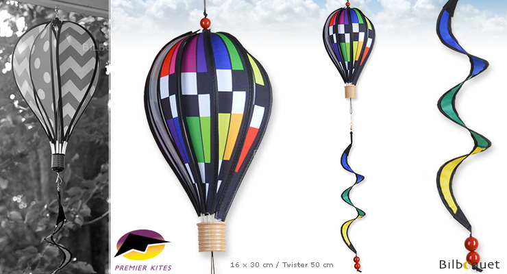 Hot Air Balloon 30cm Checkered Rainbow with twister Premier Kites & Designs