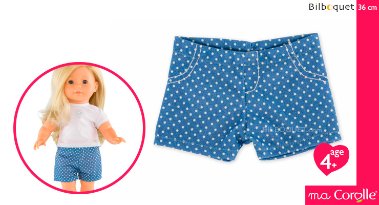 Blue Shorts with white dots for Ma Corolle 36cm Doll Corolle