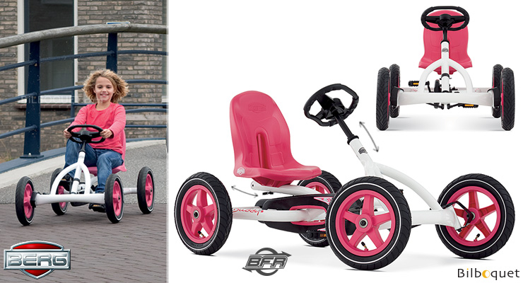 Pedal Go-Kart Buddy White/Pink (age 3-8) BERG