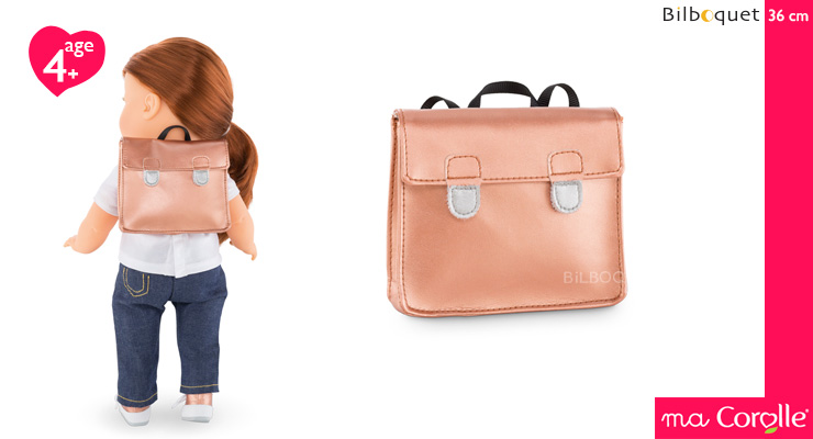 Pink Golden Schoolbag for Ma Corolle 36cm Doll Corolle