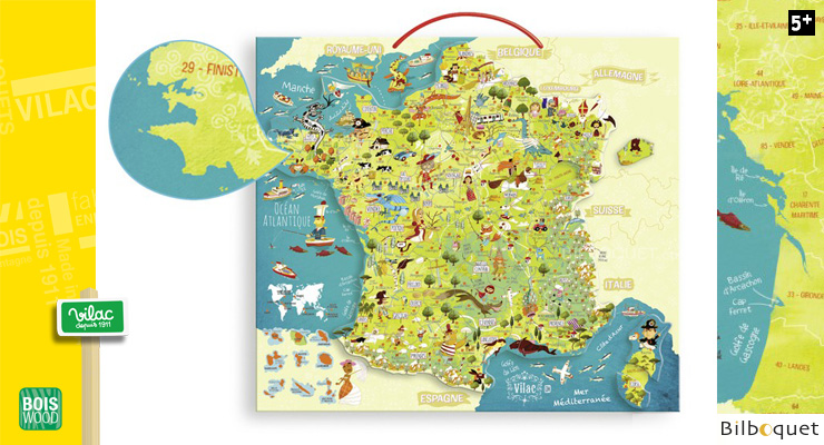 Map of France - Magnetic Puzzle Vilac