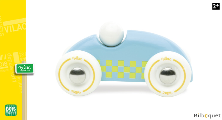 Wooden Mini Rallye Car - Light blue yellow squares Vilac
