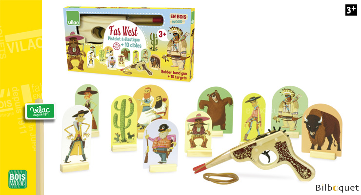 Far West, Wooden Rubber band Gun with targets Vilac