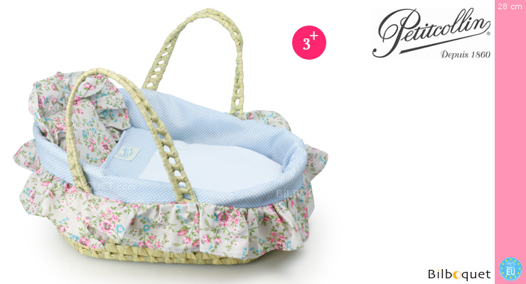Moses Basket for dolls up to 28cm - Flowers Petitcollin