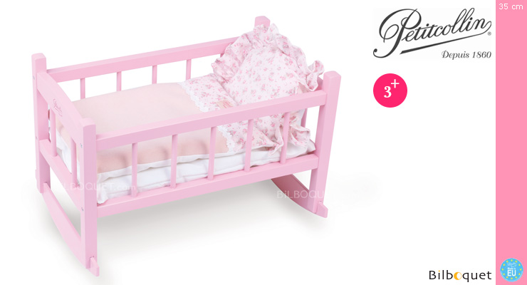 Pink Lacquered Bed for Doll up to 40cm Petitcollin