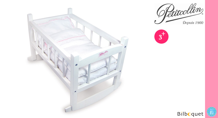 White Lacquered Bed for Doll up to 40cm Petitcollin
